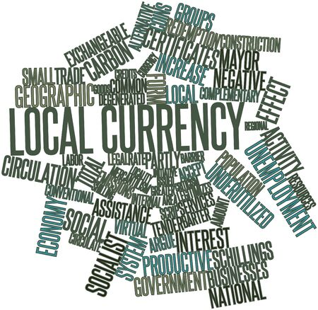 the local characteristics: Abstract word cloud for Local currency with related tags and terms Stock Photo