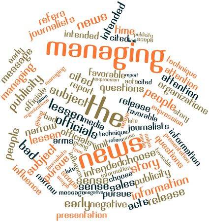 managing: Abstract word cloud for Managing the news with related tags and terms Stock Photo