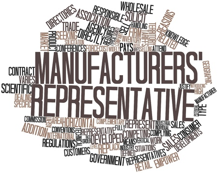 pays: Abstract word cloud for Manufacturers representative with related tags and terms