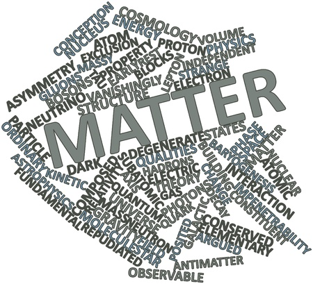 neutrino: Abstract word cloud for Matter with related tags and terms Stock Photo