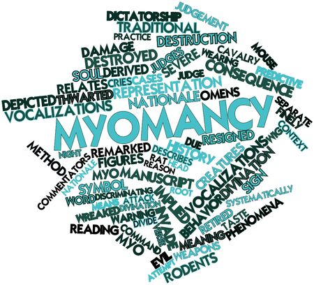 discriminating: Abstract word cloud for Myomancy with related tags and terms Stock Photo