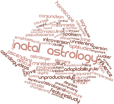 initiator: Abstract word cloud for Natal astrology with related tags and terms Stock Photo