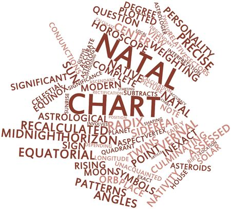 vernal: Abstract word cloud for Natal chart with related tags and terms Stock Photo