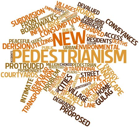 derision: Abstract word cloud for New pedestrianism with related tags and terms Stock Photo