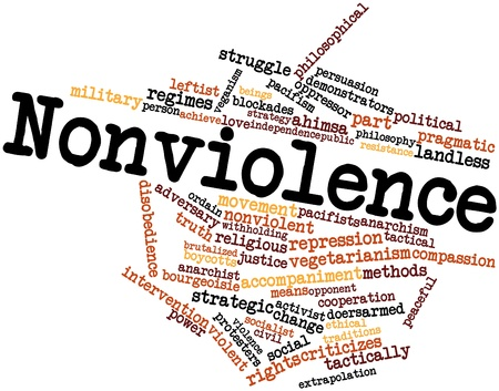 nonviolent: Abstract word cloud for Nonviolence with related tags and terms