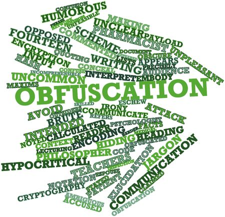 embody: Abstract word cloud for Obfuscation with related tags and terms Stock Photo