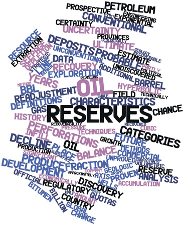 Abstract word cloud for Oil reserves with related tags and terms Stock Photo - 17398232