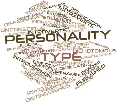 personality: Nube palabra abstracta para el tipo de personalidad con las etiquetas y t�rminos relacionados Foto de archivo