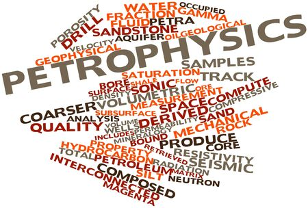 reservoir: Abstract word cloud for Petrophysics with related tags and terms