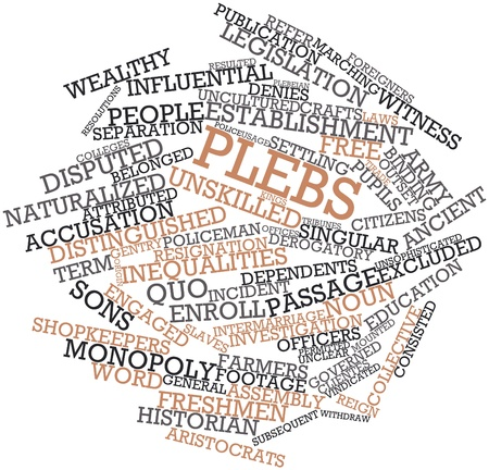 Abstract word cloud for Plebs with related tags and terms