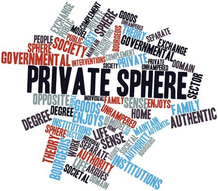 complement: Abstract word cloud for Private sphere with related tags and terms Stock Photo