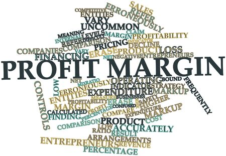 decline: Abstract word cloud for Profit margin with related tags and terms