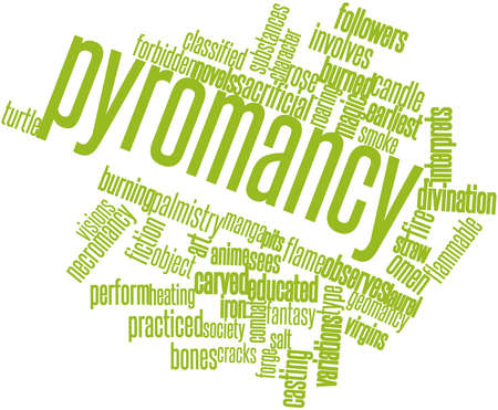 the art of divination: Abstract word cloud for Pyromancy with related tags and terms Stock Photo