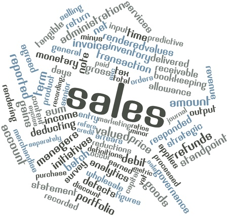 responded: Abstract word cloud for Sales with related tags and terms Stock Photo