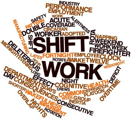 Nube palabra abstracta para trabajo por turnos con las etiquetas y términos relacionados Foto de archivo - 17397880