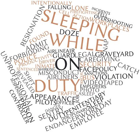 fell: Abstract word cloud for Sleeping while on duty with related tags and terms