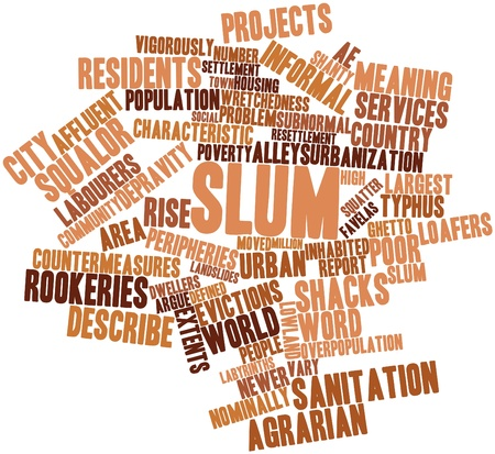 typhus: Abstract word cloud for Slum with related tags and terms