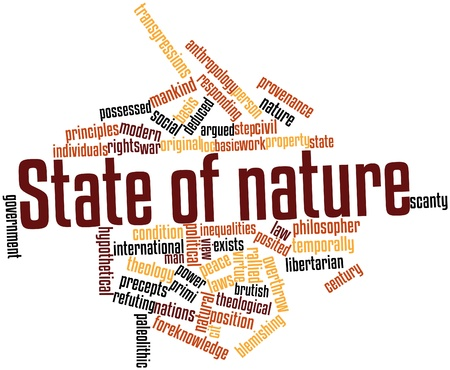 brutish: Abstract word cloud for State of nature with related tags and terms Stock Photo