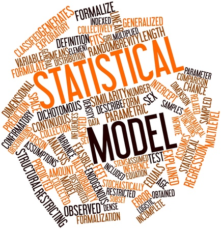 Abstract word cloud for Statistical model with related tags and terms Stock Photo - 17399085