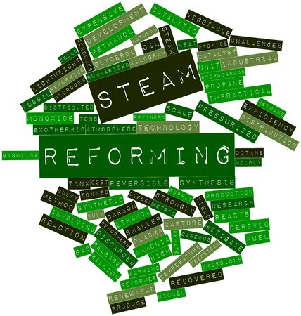 pressurized: Abstract word cloud for Steam reforming with related tags and terms Stock Photo
