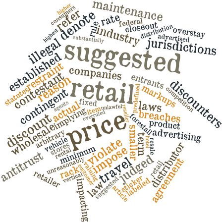 Abstract word cloud for Suggested retail price with related tags and terms photo