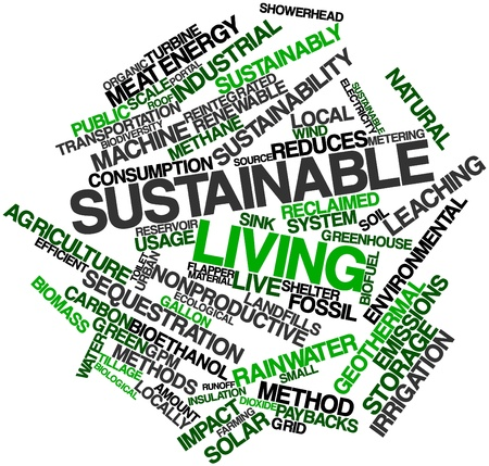 sustainably: Abstract word cloud for Sustainable living with related tags and terms Stock Photo