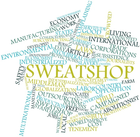 prostitution: Abstract word cloud for Sweatshop with related tags and terms Stock Photo