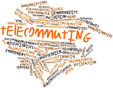 videoconferencing: Abstract word cloud for Telecommuting with related tags and terms