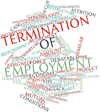 colloquial: Abstract word cloud for Termination of employment with related tags and terms Stock Photo