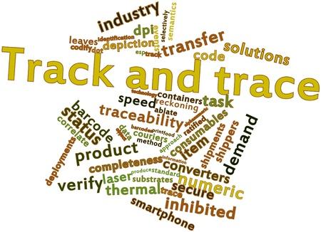 gamme de produit: Nuage de mots abstraits pour la piste et la trace avec des �tiquettes et des termes connexes