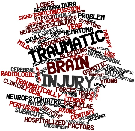 Abstract word cloud for Traumatic brain injury with related tags and terms Stock Photo