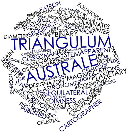 diameter: Abstract word cloud for Triangulum Australe with related tags and terms Stock Photo