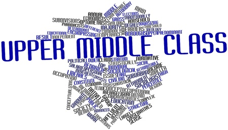 upper school: Abstract word cloud for Upper middle class with related tags and terms