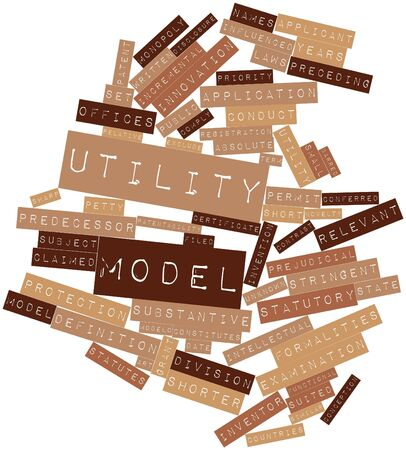 formalities: Abstract word cloud for Utility model with related tags and terms Stock Photo
