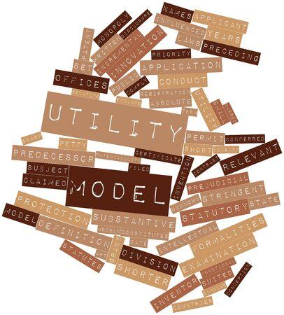 Abstrakte Wortwolke für Utility-Modell mit verwandte Tags und Begriffe