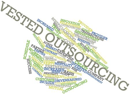 vested: Abstract word cloud for Vested outsourcing with related tags and terms