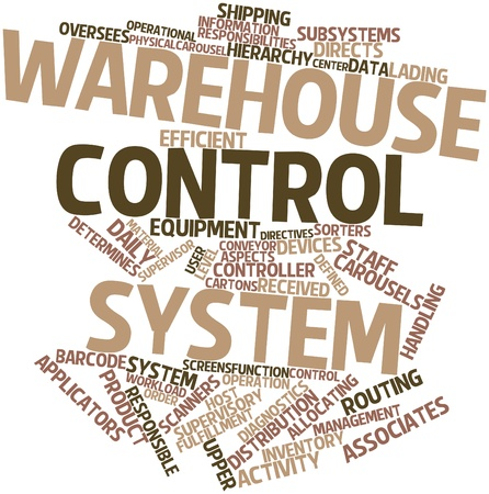 Abstract word cloud for Warehouse control system with related tags and terms
