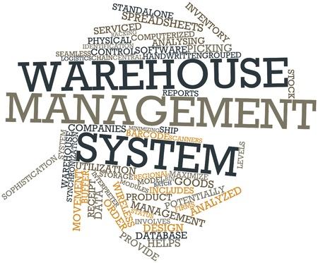 Abstraktes Wort-Wolke für Warehouse-Management-System mit verwandten Tags und Begriffe