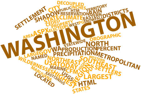 pg: Abstract word cloud for Washington with related tags and terms