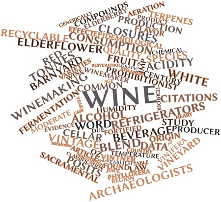 wine cork: Abstract word cloud for Wine with related tags and terms Stock Photo