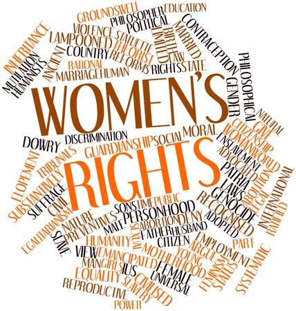 Abstraktes Wort-Wolke für Frauenrechte mit verwandten Tags und Begriffe