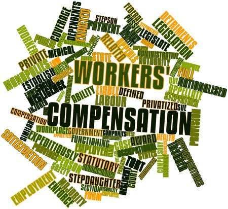 to sue: Abstract word cloud for Workers compensation with related tags and terms Stock Photo
