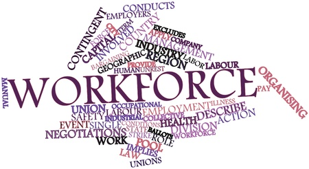 organising: Abstract word cloud for Workforce with related tags and terms Stock Photo
