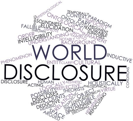 inductive: Abstract word cloud for World disclosure with related tags and terms
