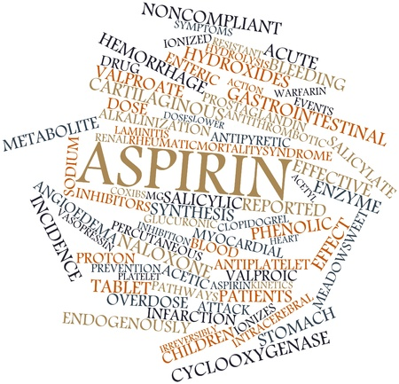 encephalopathy: Abstract word cloud for Aspirin with related tags and terms Stock Photo