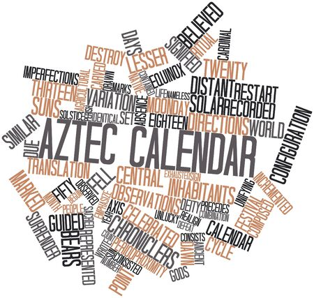 world agricultural: Abstract word cloud for Aztec calendar with related tags and terms