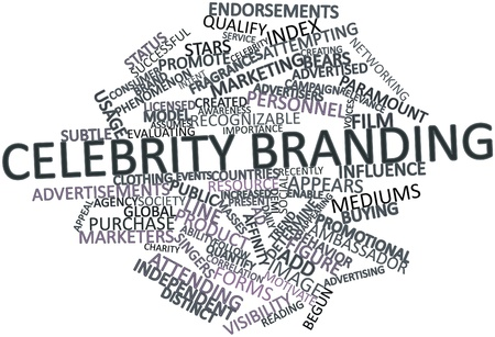 Abstract word cloud for Celebrity branding with related tags and terms Stock Photo