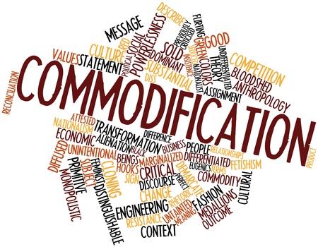 fascinação: Palavra nuvem abstrato para Mercantilização com tags e termos relacionados