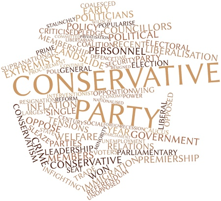 criticised: Abstract word cloud for Conservative Party with related tags and terms