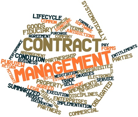 mitigate: Abstract word cloud for Contract management with related tags and terms Stock Photo